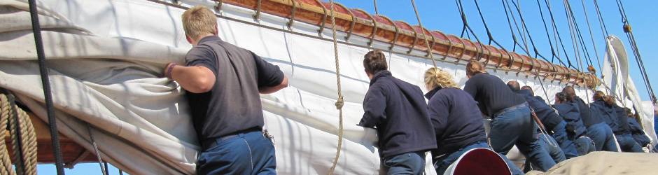 Bluenose II crew working the sails